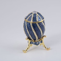 Gold & Blue Faberge Egg Handmade Trinket Box by Keren Kopal Decorated with Swarovski Crystals