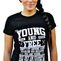 JCLU Forever Christian t-shirts — 013-YOUNG AND FREE-BLACK-Christian T-Shirt