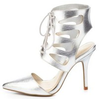 Metallic Cut-Out Lace-Up Pointed Toe Heels - Silver