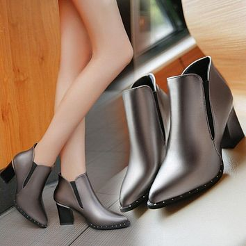 Ankle Boots High heels Women Shoes Poined Toe Silver Heeled Pumps 2016 Winter Shoes Ladies Booties botas mujer hjm78