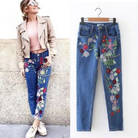 European Street style fashion women jeans female embroidery flowers washed denim pantstrousers T1009