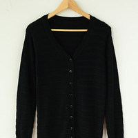 V-neck Cuff Sleeve Knit Cardigan