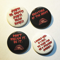 """Rocky Horror Picture Show inspired 1.5"""" pinback button 4 pack."""