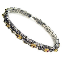 Gerochristo 6076 ~ Solid Gold & Sterling Silver Medieval-Byzantine Bracelet with Rubies