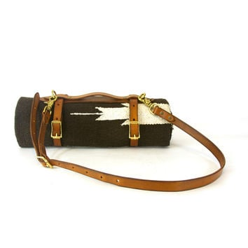 Leather Blanket Carrier with Blanket