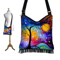 NEW Hippie Bag Fringe Boho Bag Hobo Purse Handbag Cross Body Shoulder Bag MADART  Winter Sparkle  tree moon zipper blue purple red (RTS)