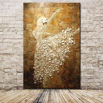 Mintura Ballet Dancer Hand Painted Abstract Canvas