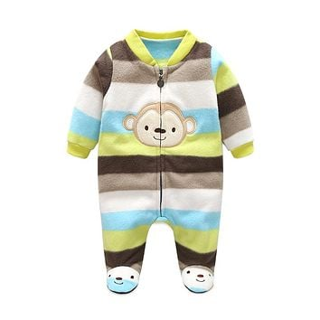 3M-12M Baby Rompers Winter Warm Fleece Clothing Set for Boys Cartoon Monkey Infant Girls Clothes Newborn Overalls Baby Jumpsuit
