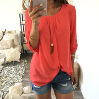 Plain Loose Round Neck T-Shirt