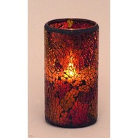 """LED Mosaic Flameless Candle, Cracked Glass Pattern, 3""""D x 6""""H,"""