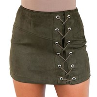 Lace Up Skirts Sexy Pencil Short Skirts High Waist Cross Womens Zipper Split Bodycon Skirt