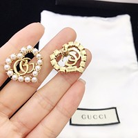 Gucci pearl double G love female personality wild earrings