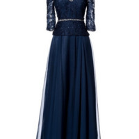 KCWM1529 Navy 3/4 Sleeve Mother of Bride Dress by Kari Chang Eternal