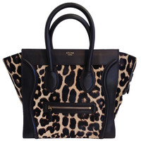 Celine Leopard Print Pony Hair Mini Luggage