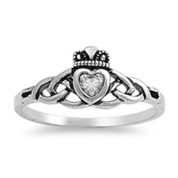 Sterling Silver Cetic Knot Infinity CZ Claddagh Ring size 2-9