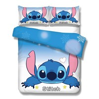 Cool disney lilo and stitch bedding set 3 pcs single double twin full queen king size cartoon girls bed cover pillow cases room decorAT_93_12