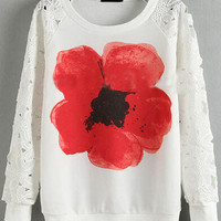 Lace Embroidered Flower Print Long Sleeve T-shirt