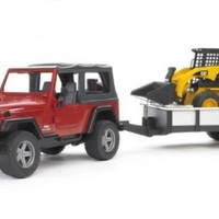 Bruder Jeep Wrangler with Tow Trailer and 02435 Skid Steer Loader