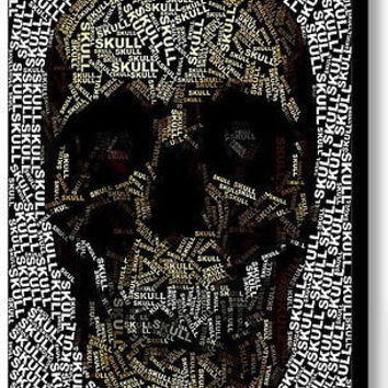 Goth Skull Odd Word Mosaic INCREDIBLE Framed 9X11 inch Limited Edition Art w/COA