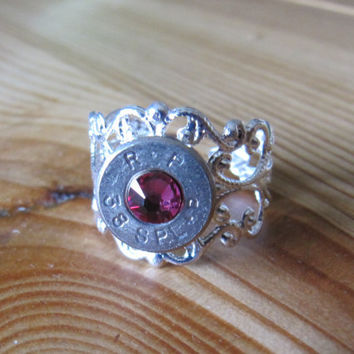 38 Special Bullet Ring with Fushia Pink Swarovski Crystal Accent - Small Thin Cut - Girls with Guns