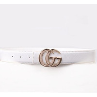 GUCCI Popular Woman Men Personality Smooth Buckle Belt Leather Belt White