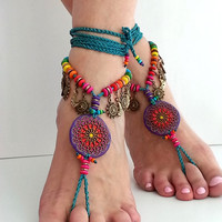 MANDALA Boho barefoot sandals, HIPPIE flower ANKLET, Bohemian crochet anklet, Gypsy foot jewelry, Belly dance, Rainbow wedding Mexican, Teal