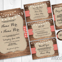 Rustic Wedding Invitations Set Template Package Printable Invites Save The Date INSTANT DOWNLOAD Tags Red Check Burlap Wood Lights Editable