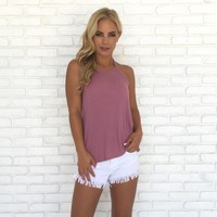 Light & Simple Ribbed Tank Top in Pink