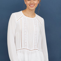 Blouse with Lace Details - White - Ladies | H&M US