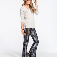 H.I.P. Vertical Ethnic Print Womens Flare Pants Multi  In Sizes