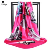 Silk Twill Square Hair Scarf  90*90cm Summer Print Foulard Satin Head Scarves Women Luxury Designer Shawls Bandana Large Hijab