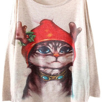 Christmas Cat Print  Drop Sleeves Sweatshirt