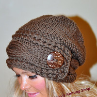 Slouchy Hat Slouch Beanie Cable Button Hat Hand Knit Winter Women Hat CHOOSE COLOR Taupe Brown Milk Chocolate Fall Chunky Christmas Gift