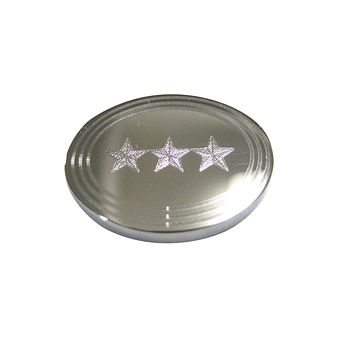 Silver Toned Etched Oval 3 Stars Magnet