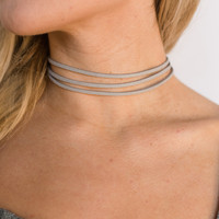 Layered Choker Necklace In Gray