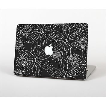 """The Black & White Floral Lace Skin Set for the Apple MacBook Pro 13"""""""