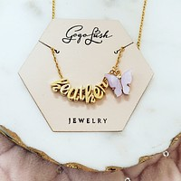 Gold Butterfly Cursive Necklace