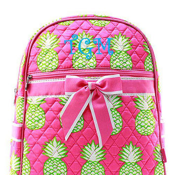 Pink Pineapple Monogrammed Backpack  Monogram Quilted Backpack  Personalized Backpack