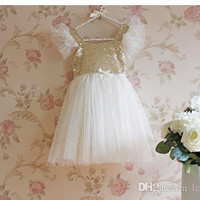 spring summer Kids Clothing Children's girl bow lace cotton sleeveless vest sequins tutu lace party dresses