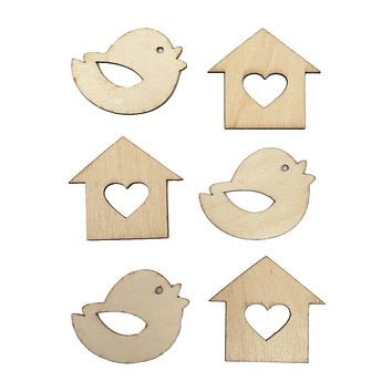 Chickadee Laser Cut Wooden Stickers, Natural, 2-Inch, 6-Count