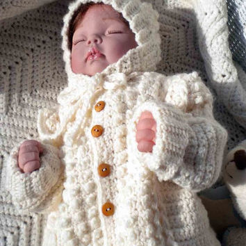 Crocheted Irish Knit Sweater & Hat for Toddlers 2T 3T 4T Custom Order Only