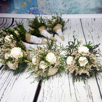 SET OF 7 Small ivory green brown rustic wedding BOUQUET, Sola Flowers, preserved cypress, Burlap, Lace, Bridesmaids, toss, cheap bouquet