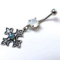 Belly Button Ring Jewelry Blue Opal Celtic Victorian Cross White Opalite Gem Stone Charm Dangle Navel Piercing Bar