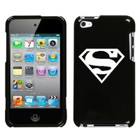 APPLE IPOD TOUCH ITOUCH 4 4TH WHITE SUPERMAN SYMBOL ON A BLACK HARD CASE COVER