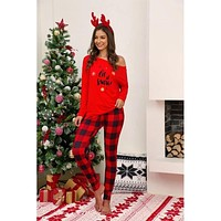 New Christmas Women's Red Plaid  Let It Snow Two Piece Pajamas C