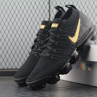 Best Online Sale Nike Air VaporMax Vapor Max 2018 Flyknit Men Black Gold Sport Running Shoes AA3851-107