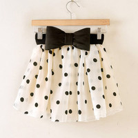 Sweet Ruffled Bow Polka Dot Print Organza Women's Skirt