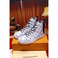 LV Louis Vuitton Men's Monogram Leather Fashion High Top  Sneakers Shoes