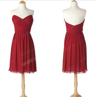 sexy prom dresses, red prom dresses,short bridesmaid dress, cheap bridesmaid dress, evening dress, BM0112