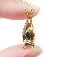 Sleek Abstract Bat Shaped Animal Pendant Necklace in Gold   DOTOLY